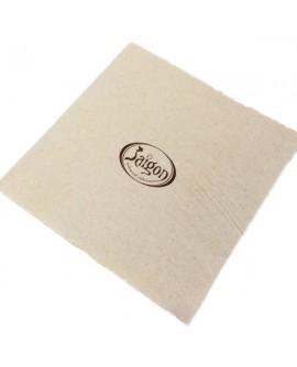 Serviette écologique personnalisée en ouate 2 plis 40x40cm. Impression d'un logo de 1 à 2 couleurs.